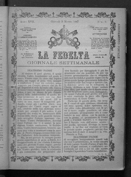 La fedeltà : giornale quindicinale della Società romana dei reduci dalle battaglie in difesa del papato