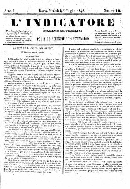 L' Indicatore : giornale settimanale politico-scientifico-letterario