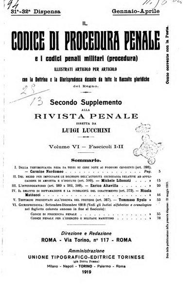 Il codice di procedura penale e i codici penali militari. Procedura secondo supplemento alla Rivista Penale