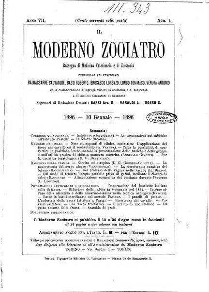 Il moderno zooiatro rassegna di medicina veterinaria e di zootecnia