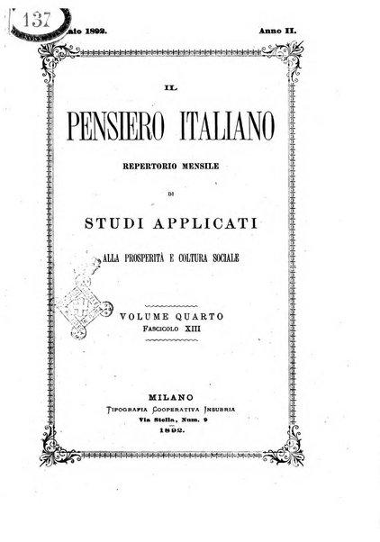 Il pensiero italiano repertorio mensile di studi applicati alla prosperità e coltura sociale