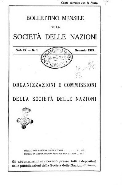 Bollettino mensile della Società delle Nazioni