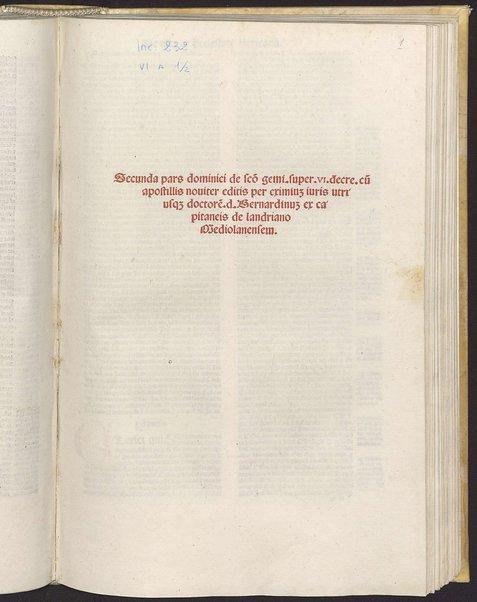 2: Secunda pars dominici de sancto geminiano super VI decretalium cum apostillis nouiter editis per eximium iuris utriusquem doctorem d. Bernardinum ex capitaneis de landriano Mediolanensem