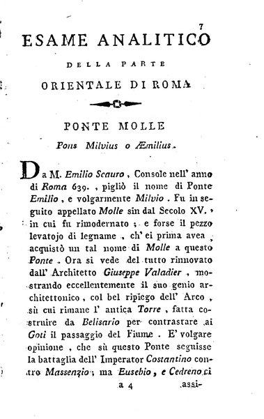 1: Della parte orientale di Roma