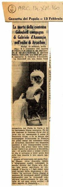 La morte della contessa Goloubeff compagna di Gabriele d'Annunzio nell'esilio di Arcachon