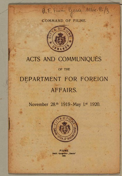 Acts and communiqués of the dapartment for foreign affairs. November 28th 1919-May 1st 1920