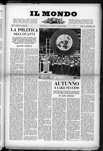 Il mondo : settimanale di politica e letteratura