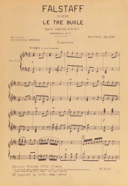 Falstaff ovvero Le tre burle : opera in 3 atti / Antonio Salieri ; libretto di Carlo Prospero De Franceschi